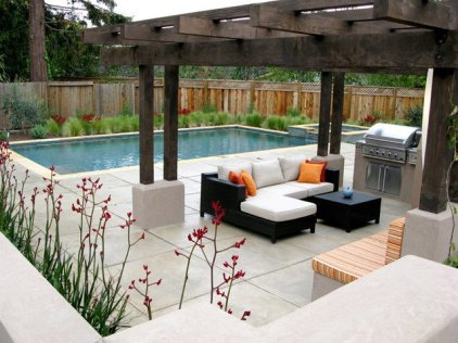 mediterranean-landscape-modern-lounger-outdoor-kitchen-pergola-cheap-backyard-landscaping-arbor-dining-fireplace