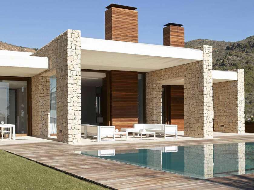 Kivestä rakennettu upea moderni pergolaa